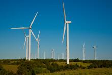 Power Generating Windmills Near Woodward, Oklahoma.