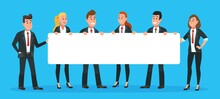 Business People Holding Banner. Man And Woman Office Workers In Suits And Ties With Blank Or Empty Signboard For Text. Employees Searching For New Candidate, Having Announcement Vector Illustration