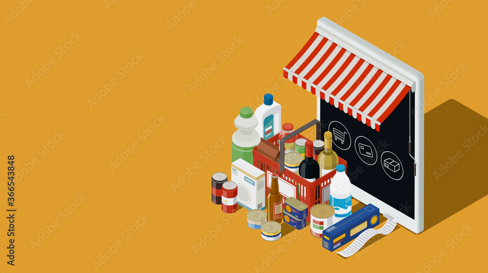 Fototapeta Online virtual store and grocery shopping items