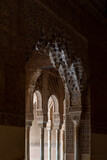 Moorish arches in the Court of the Lions in The Alhambra, Granada, Spain
