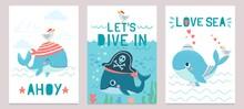 Whale Card. Cute Marine Animal...