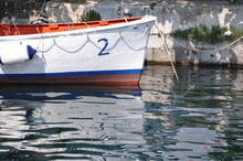 Lifeboat Moored In The Harbor