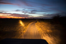 Road Ahead With Jeep Headlight...