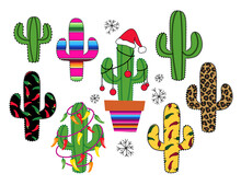 Silhouettes Collection Of Cactus . Leopard,  Stripes Serape,  Christmas And Chili Peppers Pattern. Vector Illustration. Clip Art.