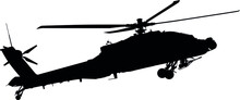 AH-64 Apache Military Aircraft Helicopter Attack Flying, Longbow Air Force Military Helicopter Silhouette