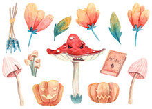 Halloween Collection Of Watercolor Hand Painted Illustrations