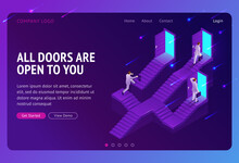 Choice, Career Ladder Isometric Landing Page. Business Opportunity, Way To Success. Businessman Choose Doors On Stairs, Decision, Solution For Job Or Life Path. Monty Hall Problem 3d Vector Web Banner