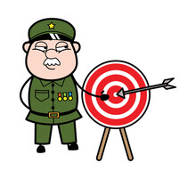 Cartoon Military Man Showing Dart-board Goal