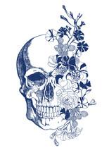Blue Skull With Flowers Vintage Style Illustration