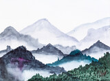 view of overgrown mountains in morning hand painted by watercolour paints on white textured paper - 366590279