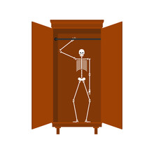 Skeleton In Closet Isolated. Illustration For An English Proverb