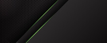 Dark Green Black Tech Metal Abstract Background For Wide Banner