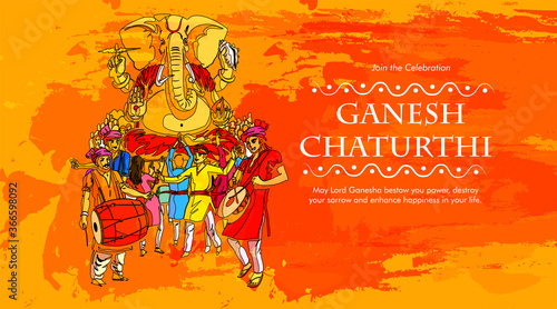 Foto Lord Ganesha , Ganesh festival illustration of Lord Ganpati background for Ganes