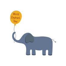 Cute Blue Elephant With A Ball...