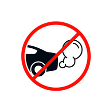 No Idling Or Idle Reduction Transport Sign On White Background. Vector Isolated Flat Design Illustration
