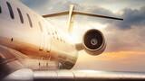 Fototapeta Kawa jest smaczna - private jet against a sunset