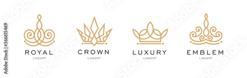 Obraz na plátně Set of crown logo templates