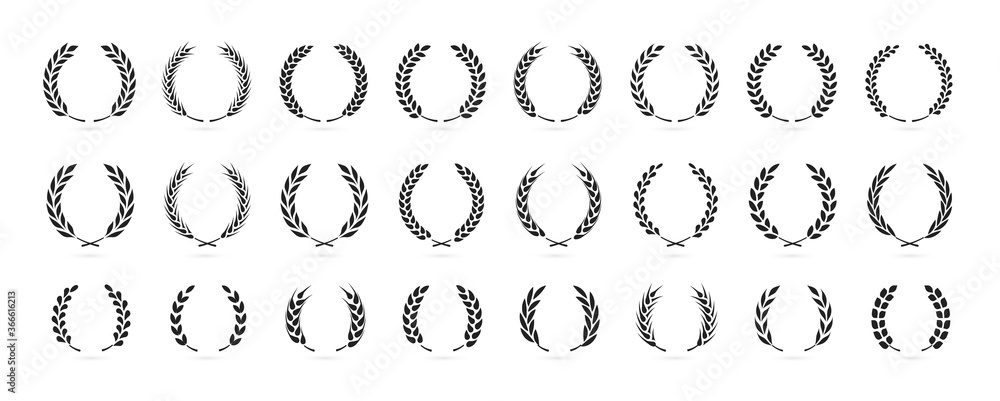 Fototapeta Simple black laurel wreath vector icon set. Award, success, champion sign