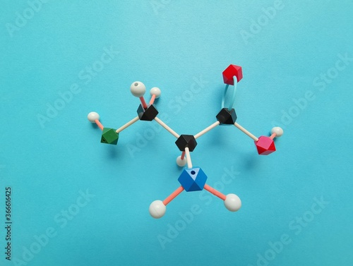 Molecular structure model (structural chemical formula) of cysteine molecule Fototapet