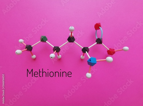 Photo Molecular structure model, structural chemical formula of methionine molecule