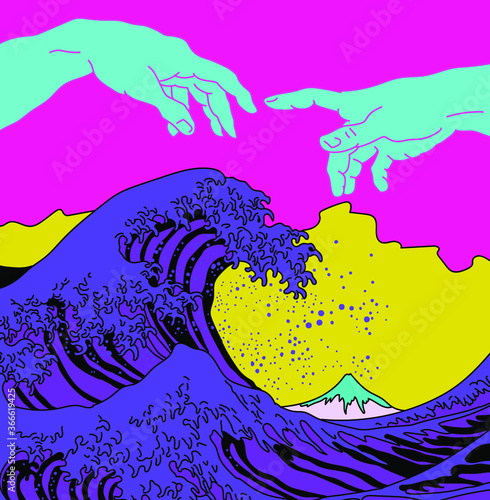 Photo Great Wave off Kanagawa in Vaporwave Pop Art style