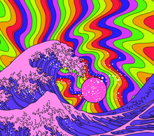 Great Wave In Psychedelic Hippie Style. View On The Ocean's Crest Leap Stylized Like The Pop Art Of The Sixties.