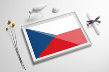 Czech Republic Flag In Wooden Frame On Table. White Natural Soft Concept, National Celebration Theme.