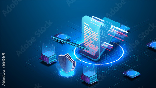 Fototapeta Isometric digital signature concept with phone and pen. Mobile document manager or e-signature business concept vector isometric illustration. Blockchain or Smart Contract landing page design. obraz