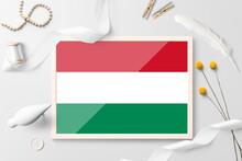 Hungary Flag In Wooden Frame O...