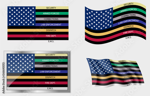 Canvastavla American Thin Line First Responder Flag