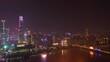 night illuminated guangzhou city modern downtown famous towers riverside bay aerial panorama 4k china