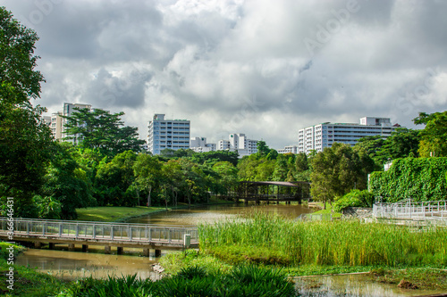 Singapore 19th June 2020: the pond and green roof toilet of Jurong Eco Garden Fototapeta