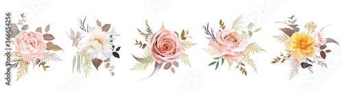 Obraz na plátně Luxurious beige trendy vector design floral bouquets