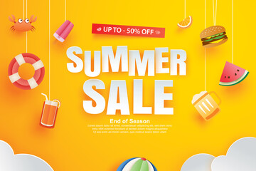 Summer sale with decoration origami on yellow background. Paper art and craft style.