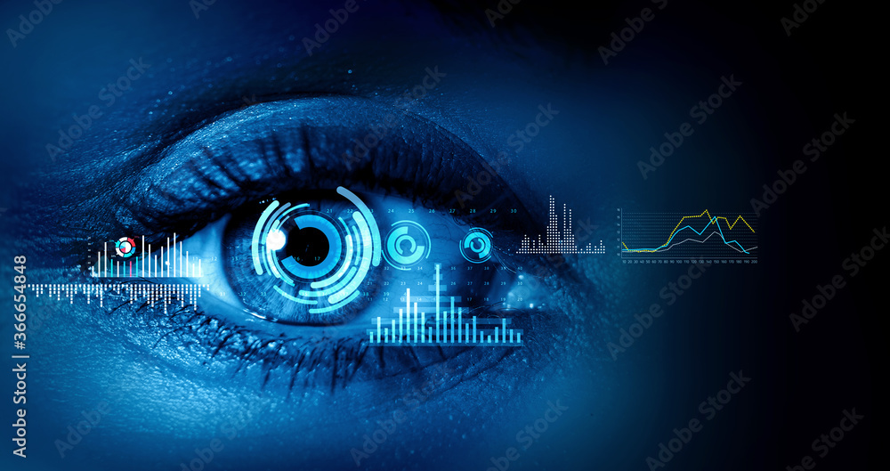 Fototapeta Close up of woman eye in process of scanning