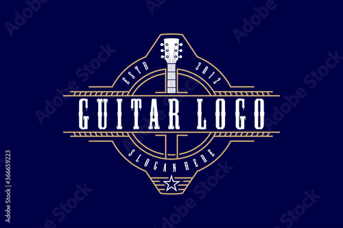 Guitar logo design vintage vector  illustration template Canvas-taulu