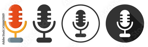 Leinwand Poster Microphone audio sound icon symbol flat design vector