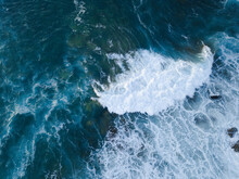 Aerial View Of Wave Breaking O...