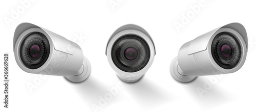 Foto Security cam, cctv video camera, street observe surveillance equipment front and side angle view