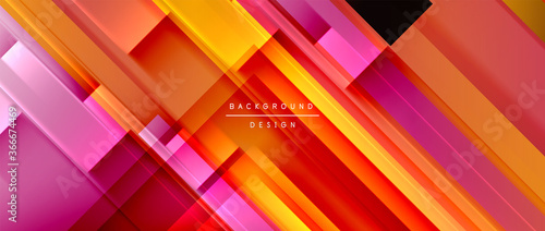 Obraz Dynamic lines on fluid color gradient. Trendy geometric abstract background for your text, logo or graphics - fototapety do salonu