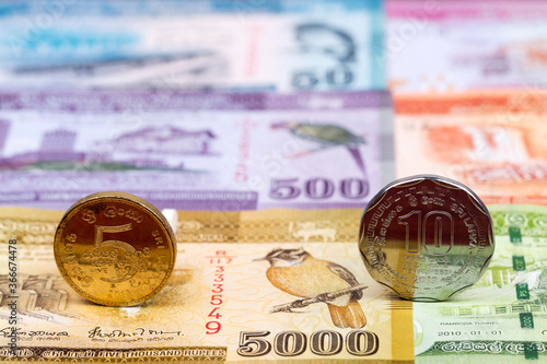 Fotografie, Obraz Sri Lankan coins - rupee on the background of money