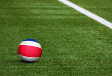 Costa Rica Flag On Ball At Soc...