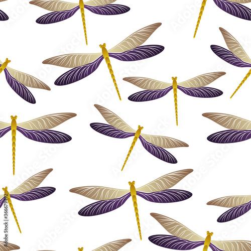 Photo Dragonfly modern seamless pattern