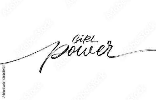 Girl Power ink pen vector lettering Wallpaper Mural
