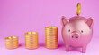 canvas print picture - Pink piggy bank, and gold coins on pink background. Finance, business, saving concepts. 3D rendered image.