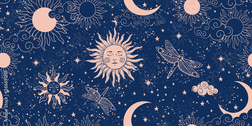 Seamless blue space pattern with sun, crescent and stars on a blue background Fotobehang