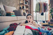 canvas print picture Photo of pretty displeased lady stay home quarantine lying many clothes heap stack floor wardrobe stuff pick select date look outfit confused have nothing to wear living room indoors