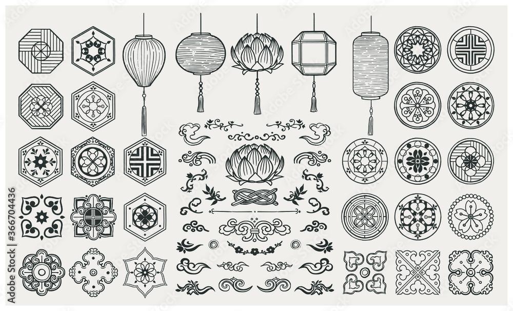Fototapeta Set of hand drawn oriental elements. Asian lanterns and traditional patterns.