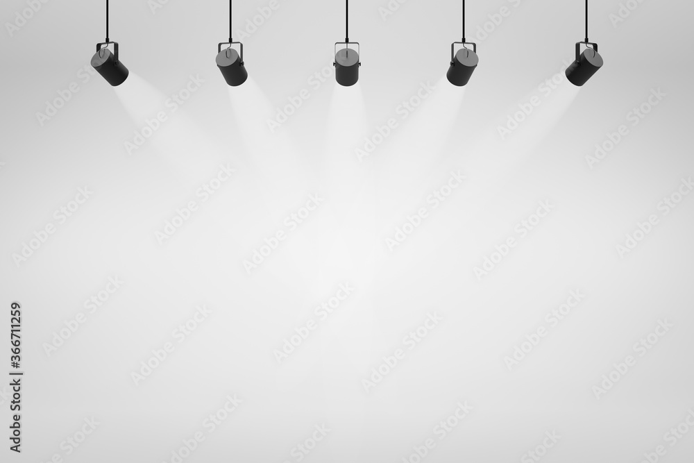 Empty white studio backdrops and spotlight on entertainment room background with showing scene. White product display or blank room. 3D rendering.