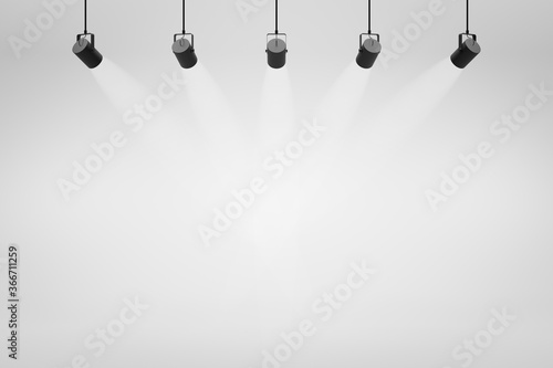 Canvas Empty white studio backdrops and spotlight on entertainment room background with showing scene
